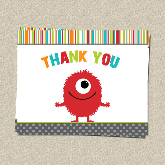 Monster Thank You Cards, Monster Bash Theme Thank You Notes, Set of 10 Printed, Free Shipping