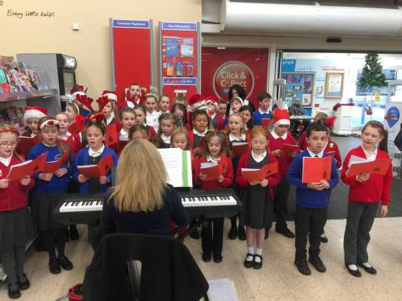 Carol singing at Tesco!
